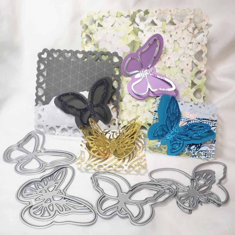 Troqueles de corte creación sorpresa alfombra con mariposas y capa álbum de recortes fabricación de tarjetas manualidades de papel plantilla DIY troqueles de Metal