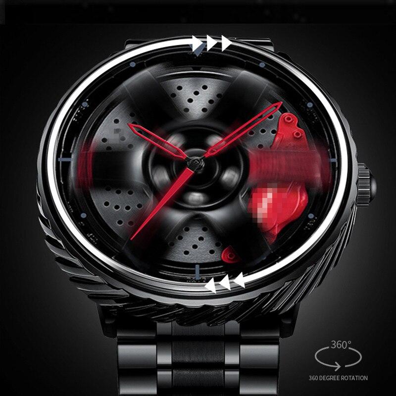 2021 تصميم جديد الغزل سيارة عجلة ريم محور الرجال الساعات ثلاثية الأبعاد نموذج تدوير موضة الهيب هوب الرجال كوارتز ساعة اليد مقاوم للماء هدية