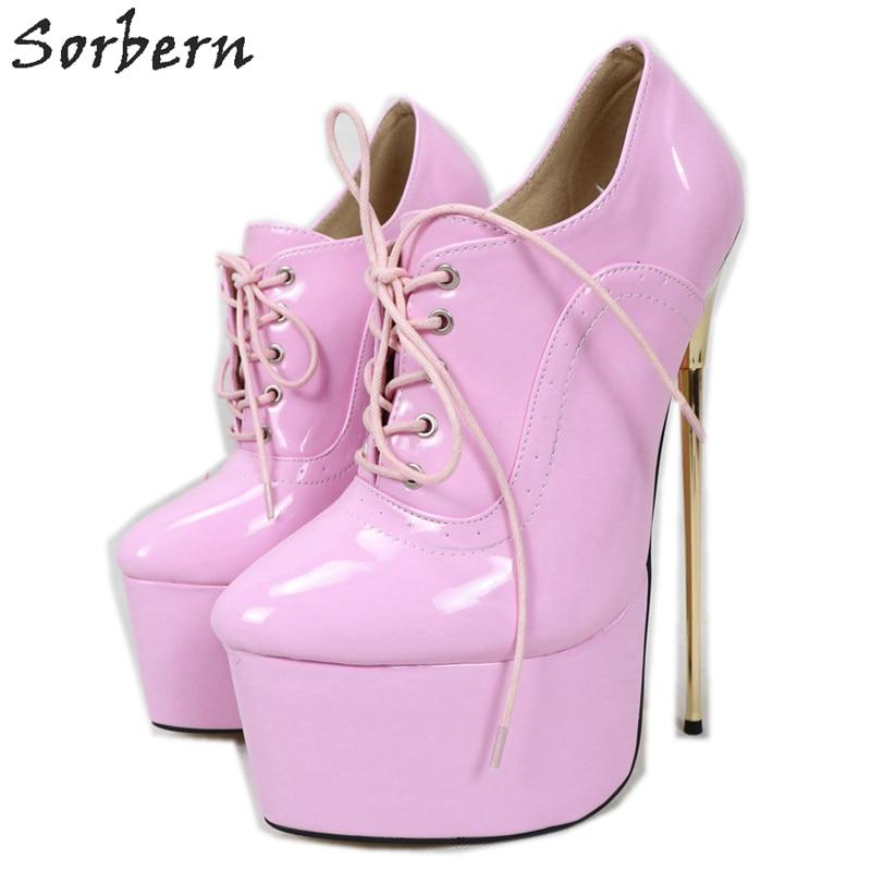 Sorbern New Women Pumps Sexy Pointed Toe 22CM High Heel 6CM Platform Ladies Fashion Simple Fine Gold Metal Heel Singles Shoes