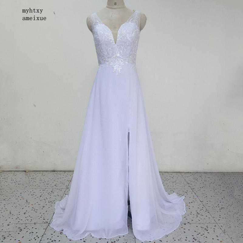Vestido de boda barato para la playa 2020, vestidos de boda blancos/Marfil de gasa de encaje con escote en V de longitud hasta el suelo, vestido de novia con abertura al muslo sin espalda