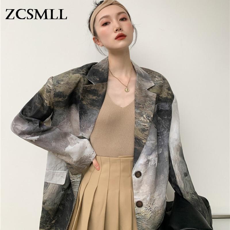 Женские куртки ZCSMLL, дизайнерский жареный уличный костюм, костюм для шоу в стиле пейзажа, масляная живопись, весна-лето 2021