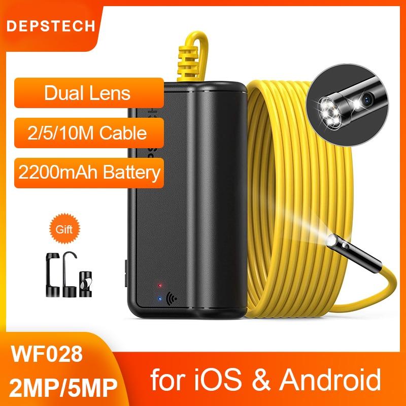 ديبستيتش عدسة مزدوجة 2MP 5MP كاميرا المنظار اللاسلكية ثعبان التفتيش زوومابلي كاميرا واي فاي Borescope ل أندرويد و iOS اللوحي