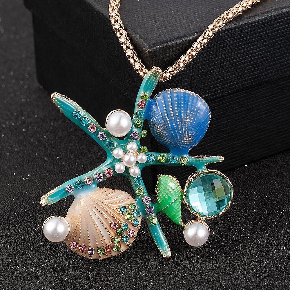 Accesorios Mujer blanco azul perla cristal esmaltado Concha Conch estrella De mar...