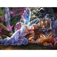 full square drill 5d diy round diamond painting butterfly fairy tiger 3d embroidery set cross stitch mosaic decor gift