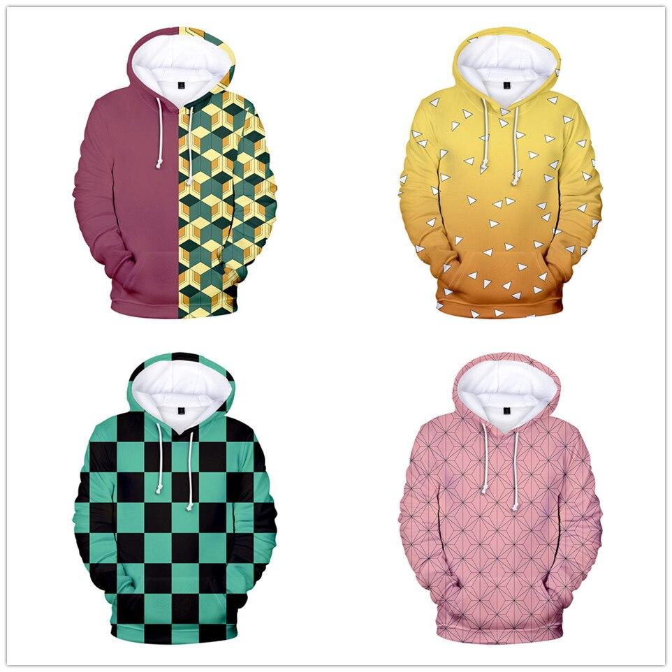Cazadora de Kimetsu No Yaiba Tanjiro Kamado Cosplay de las mujeres de los hombres sudaderas con capucha de moda Harajuku Sudadera con capucha sudadera Anime ropa de la chaqueta