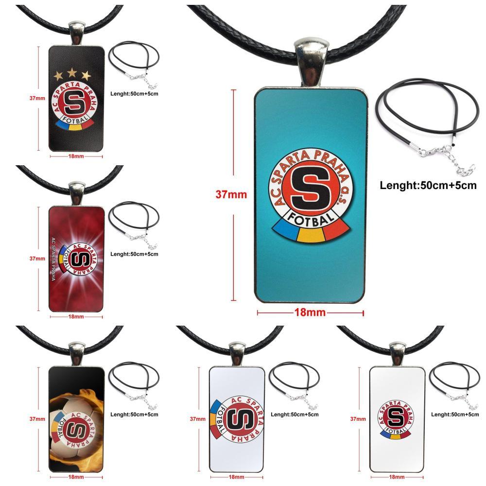 Collar cabujón colgante de vidrio rectángulo collar de moda para niños cuentas Sparta Praha Deportes Fútbol Europeo