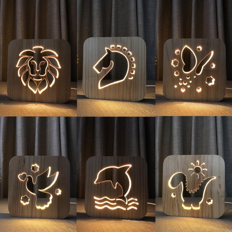 Twórczy LED drewniane światło nocne pielęgnacja oczu energooszczędne przyjazne dla środowiska sypialnia lampa stołowa Home Hollow Carving lampa prezentowa
