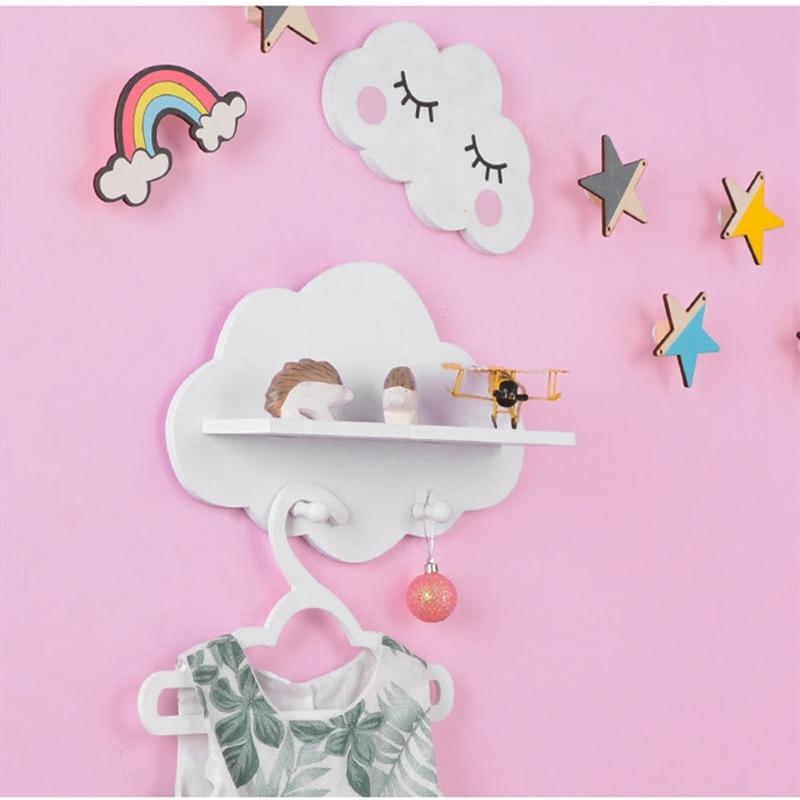 1 Uds. Estante de almacenamiento nórdico colgante nube de madera soporte abrigo gancho adornos colgantes Baby Shower Party Room Decoration estantes suministros