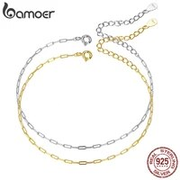bamoer two colors real 925 sterling silver simple bracelet gold basic cable chain hollow link for women fashion jewelry scb221