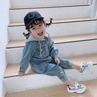 2 7 years childrens clothing new hong kong style summer boys and girls baby trendy denim jumpsuit hat removable jacket rompers