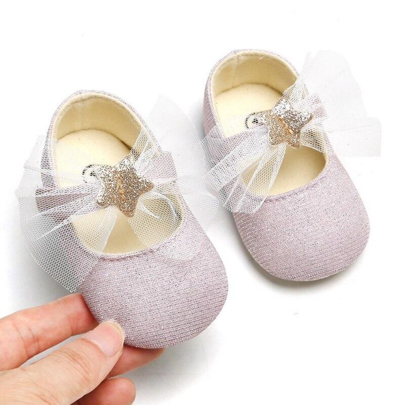 ¡Oferta! Zapatos de niña bebé con lazo de Estrella Brillante, zapatos de princesa para bebés, primeros caminantes, suela suave, para recién nacidos