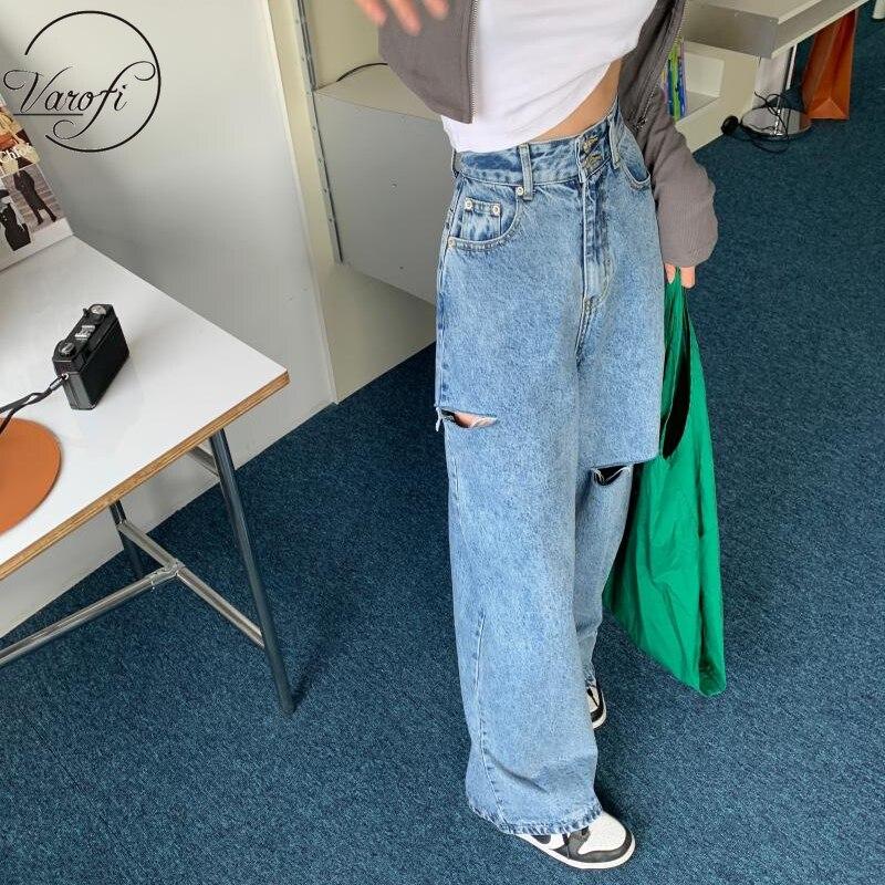 Varofi Loose, versatile, ripped personality jeans  jeans woman  baggy jeans women  boyfriend jeans for women  jeans ripped women