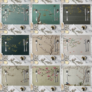 Fashion Print Rectangle vintage tree flower Table Pad Cut Mats Placemat for Dinner Kitchen Table 40x30cm