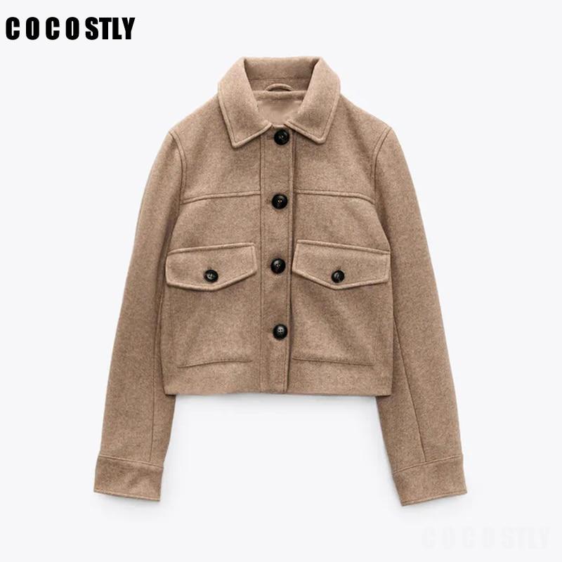 Autumn Winter New Za Women's Jacket Vintage Warm Coat Woolen Loose Vintage Pockets Casual Button Short Jacket Female trf