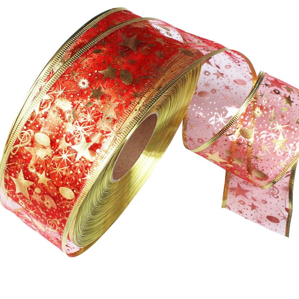 2M Bling Organza Ribbon For DIY Christmas New Year Decoration Gift Wrapping Sewing Craft Christmas tree decor gift ribbon A111
