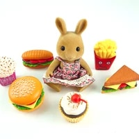 dollhouse hamburger 112 food items toy accessories forest family miniature bunny kit for doll kitchen house toys for girls gift
