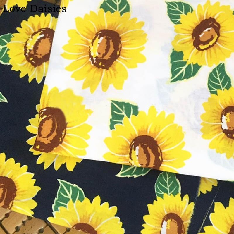 WEIß NAVY Gelbe Sonnenblume Blume Floral 100% Baumwolle Weichen stoff für Sommer Bekleidung Kleid Handwerk Handarbeit Decor Beutel Gewebe