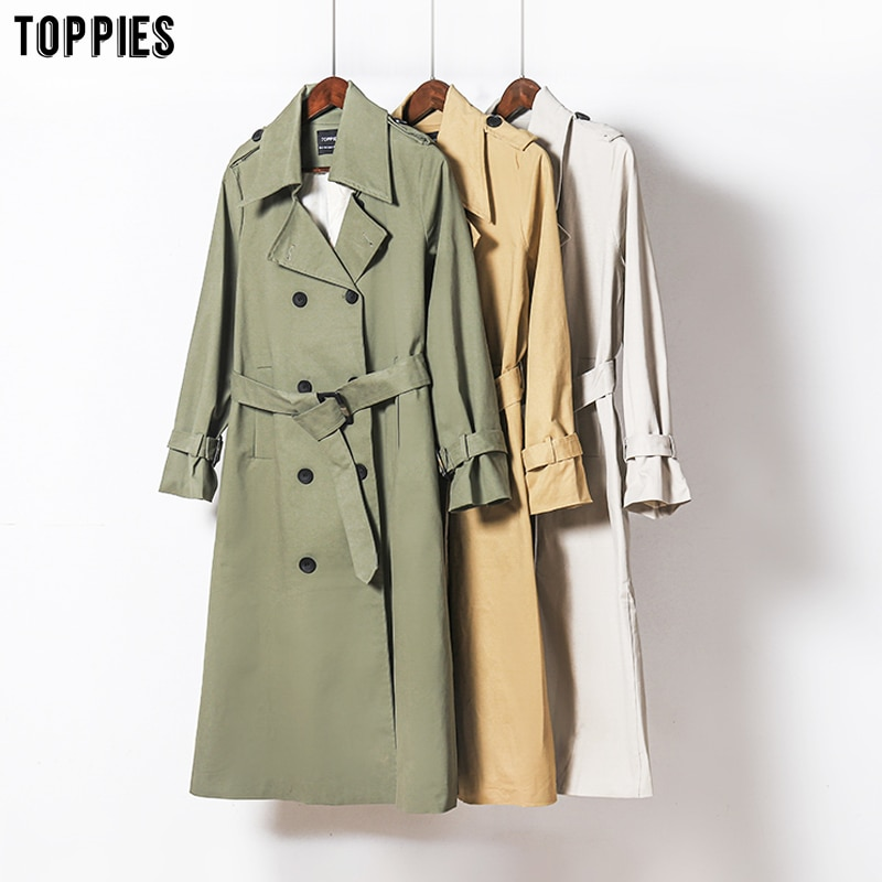 Toppies 2021 Spring Long Trench Coat Women Double Breasted Slim Trench Coat Female Outwear Fashion W