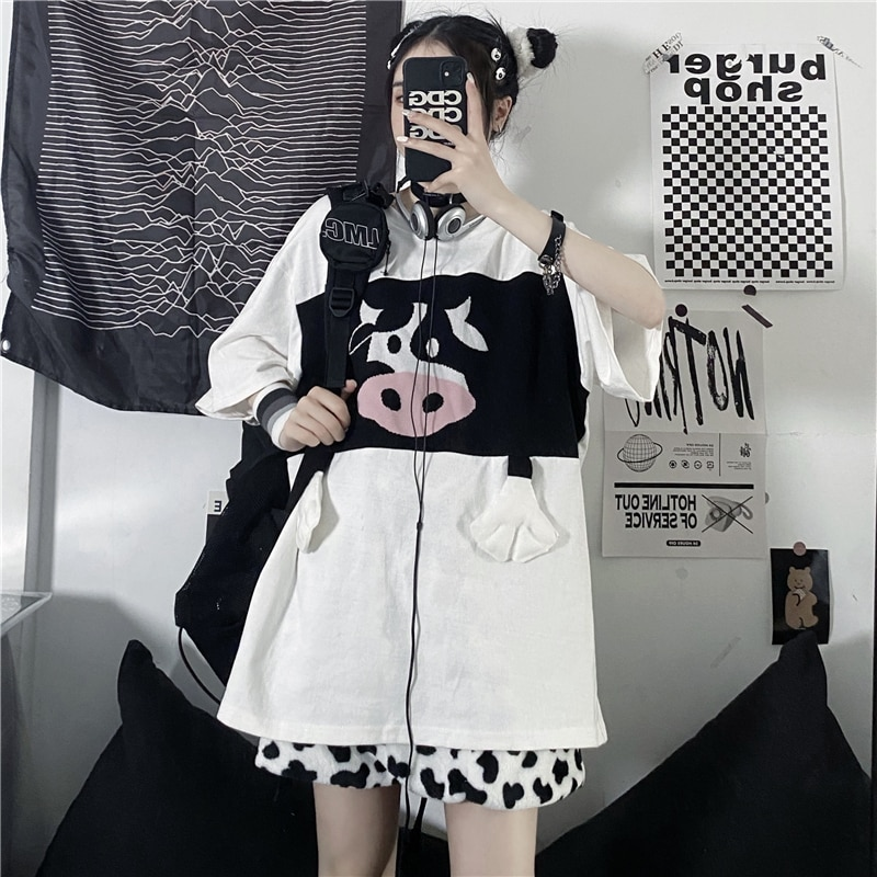 Kawaii Short-Sleeved T-Shirt Top Women T-Shirt Pullover Loose Round Neck Stitching Cow Cartoon Printing Streetwear Couple Outfit