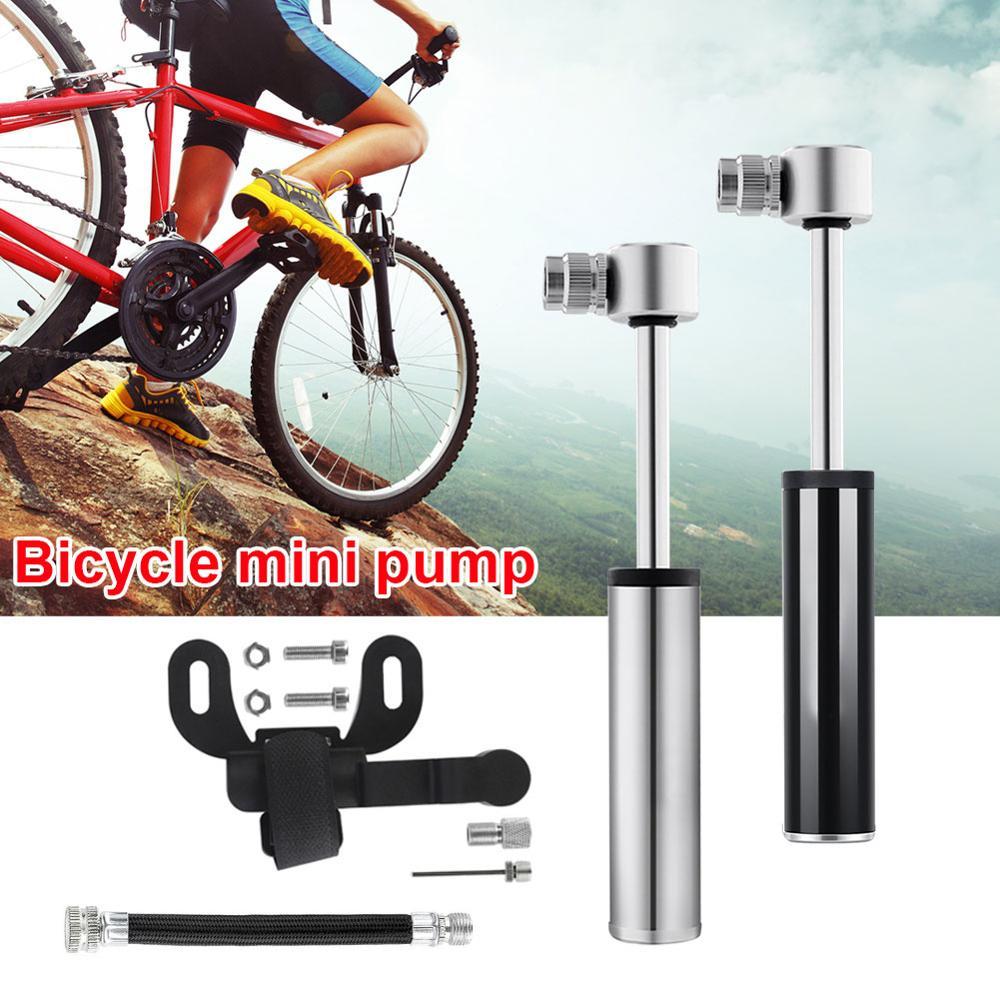 1PC Mini bomba de bicicleta de aleación de aluminio de la mano de ciclista Mini bomba de bicicleta neumáticos Inflador de aire válvula de bola de manguera y aguja MTB Accesorios