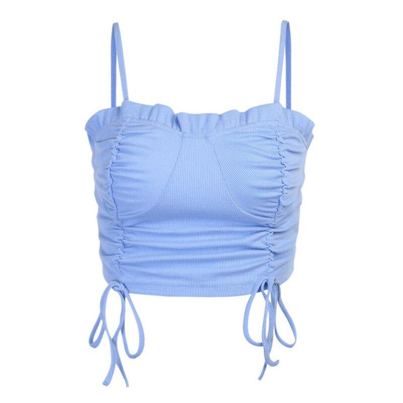 Paris menina moda sexy tanque peito plissado cordão colete femmel cor sólida streetwear fino topo de colheita feminina