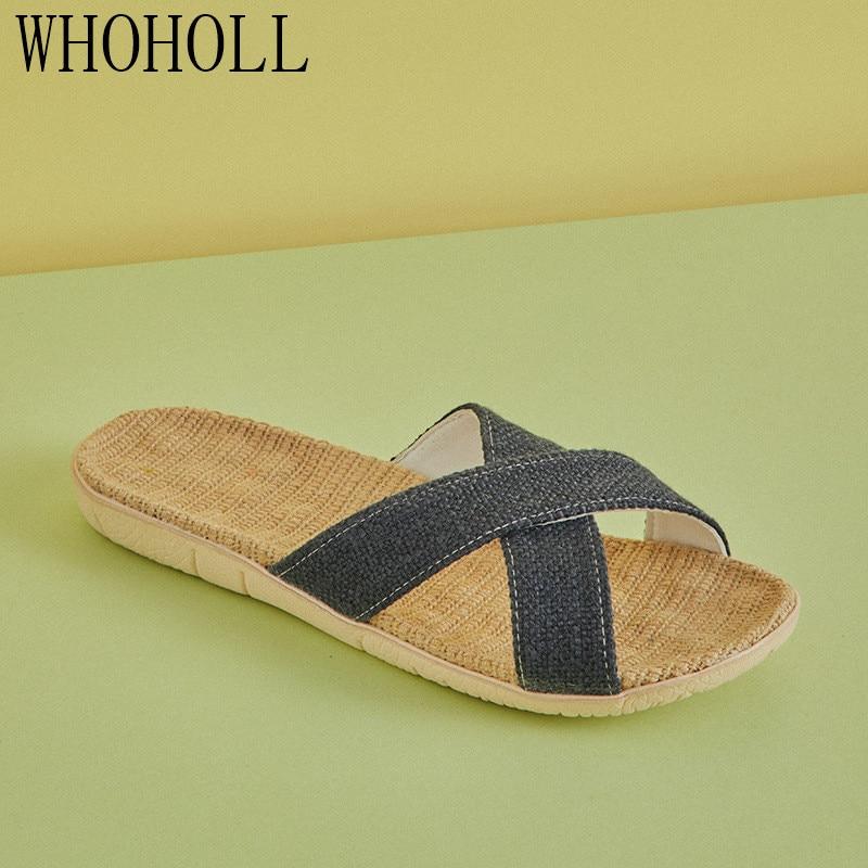 Soft Linen Home Slippers Men Summer Couple Indoor Cross Daily New Unisex