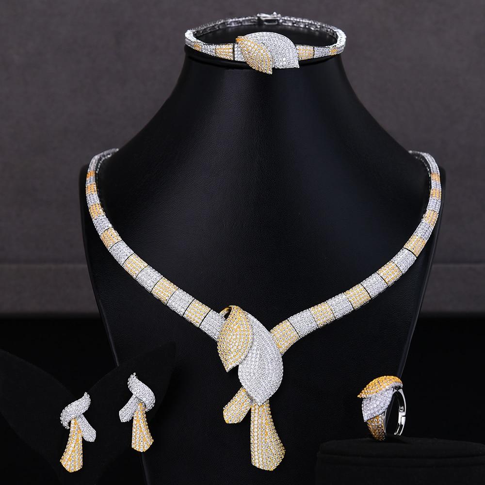 GODKI مقلد مجوهرات الزفاف مجموعات 3 ألوان قلادة سوار أقراط الطوق مجموعات مجوهرات الزفاف بارور بيجو فام