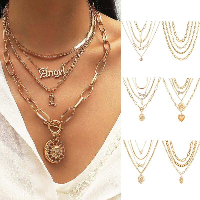 Vintage Multilayer Necklace Punk Simple Pendant Women Personality Sun Heart Eyes Necklaces Charm Fashion Jewelry Creative Gifts