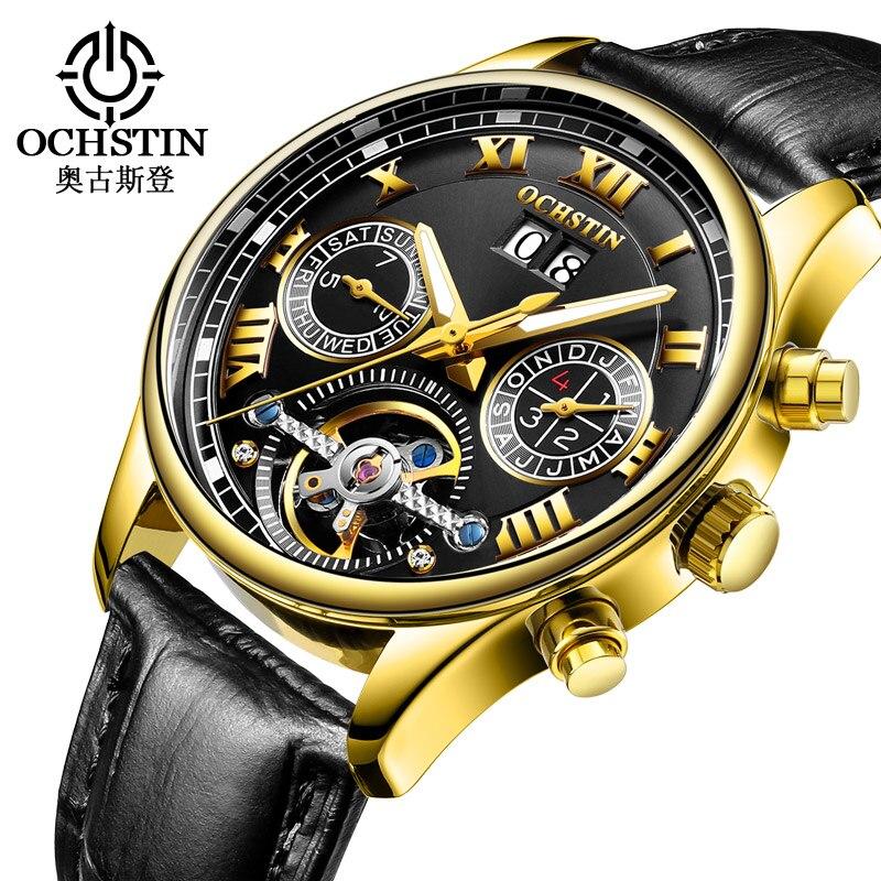 Relógio de Ouro Ochstin Tourbillon Masculino Relógio Mecânico Moda Automática Clássico Case Couro Negócios Relógios Pulso Reloj Hombre