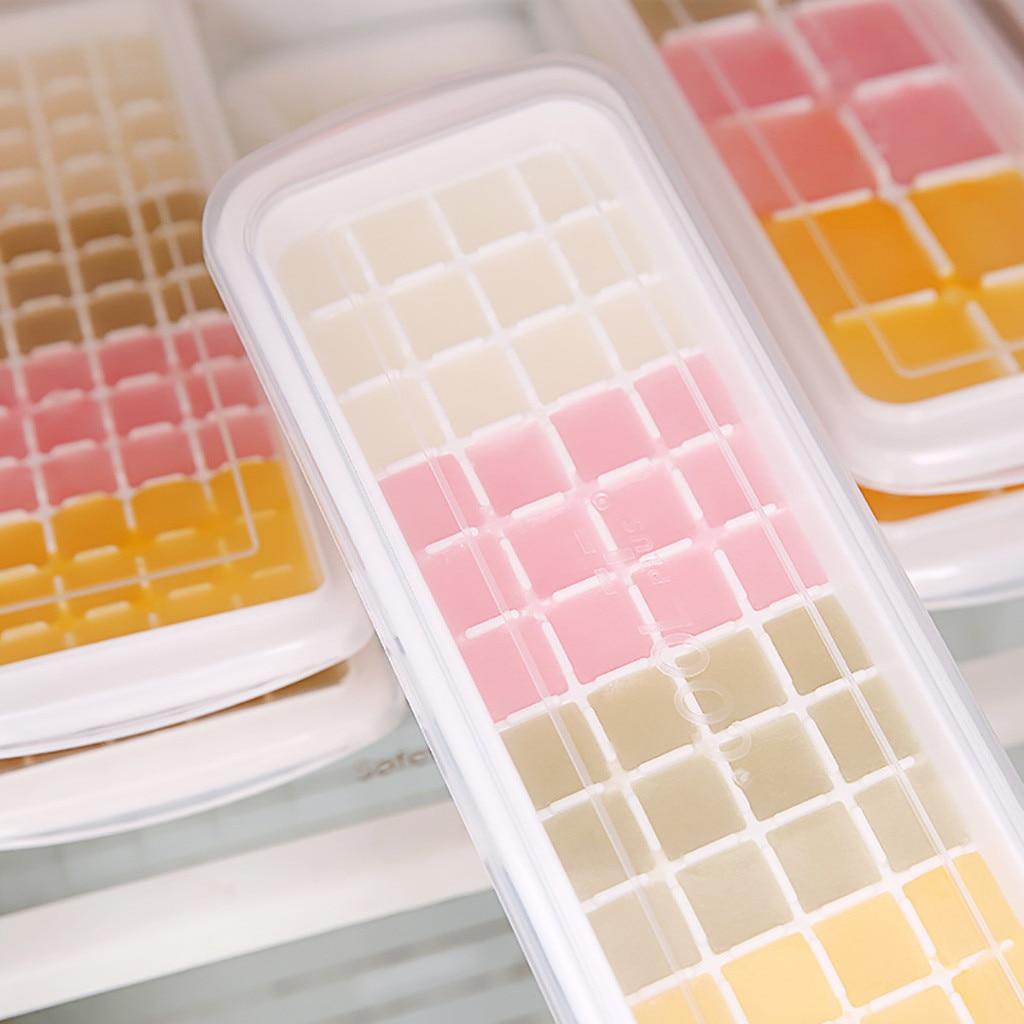 Cubito de hielo de silicona de 65 rejillas con tapa bandeja de hielo ecológica moldes de helado de fruta pequeños fabricante Dropshipping accesorio Cocina