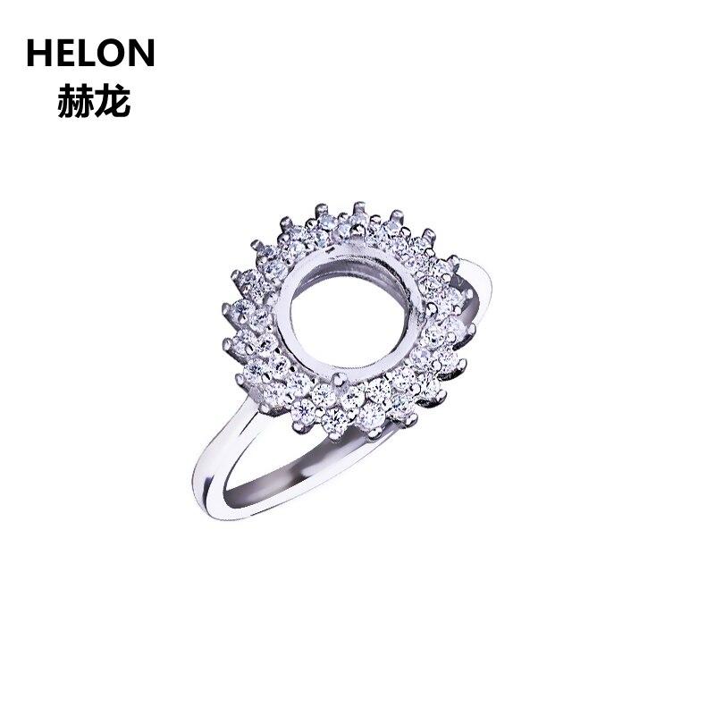 Anillo de bodas de plata de ley 925 para mujer, anillo de semimontaje de cabujón redondo de 8x8mm, ajuste de turquesa ámbar ajustable al por mayor