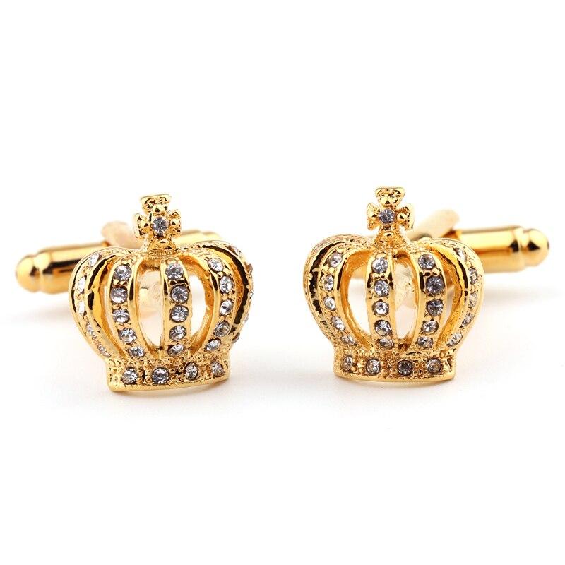 Golden crown shape cufflinks crystal men's shirts cufflinks cuff free shipping