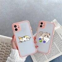 cute cartoon cat phone case for iphone 12 11 mini pro xr xs max 7 8 plus x matte transparent pink back cover