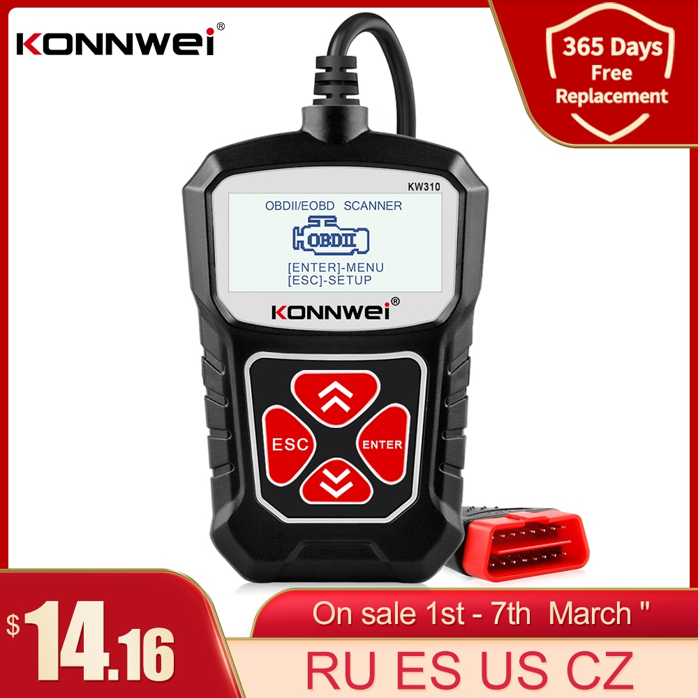 KONNWEI KW310 OBD2 Scanner for Auto OBD 2 Car Scanner Diagnostic Tool Automotive Scanner Car Tools R