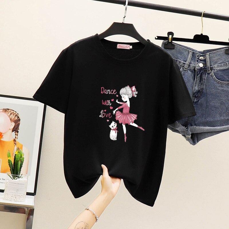 Camiseta de mujer con gráfico de baile con amor de Ymwmhu, camiseta de verano de manga corta con cuello redondo, camiseta negra a la moda para mujer