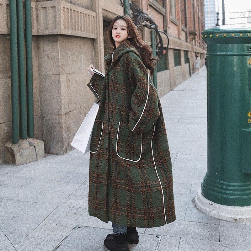 Vintage Plaid Loose Hooded Woolen Coat for Women Autumn Winter Elegant Single Breasted England Style Long Jacket Cloak 7860