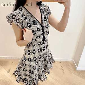 2020 Gentle Pig Heavy Industry Varved Embroidered Vintage Lace V-neck Hollow Crochet Small Flying Sleeve Slim Dress