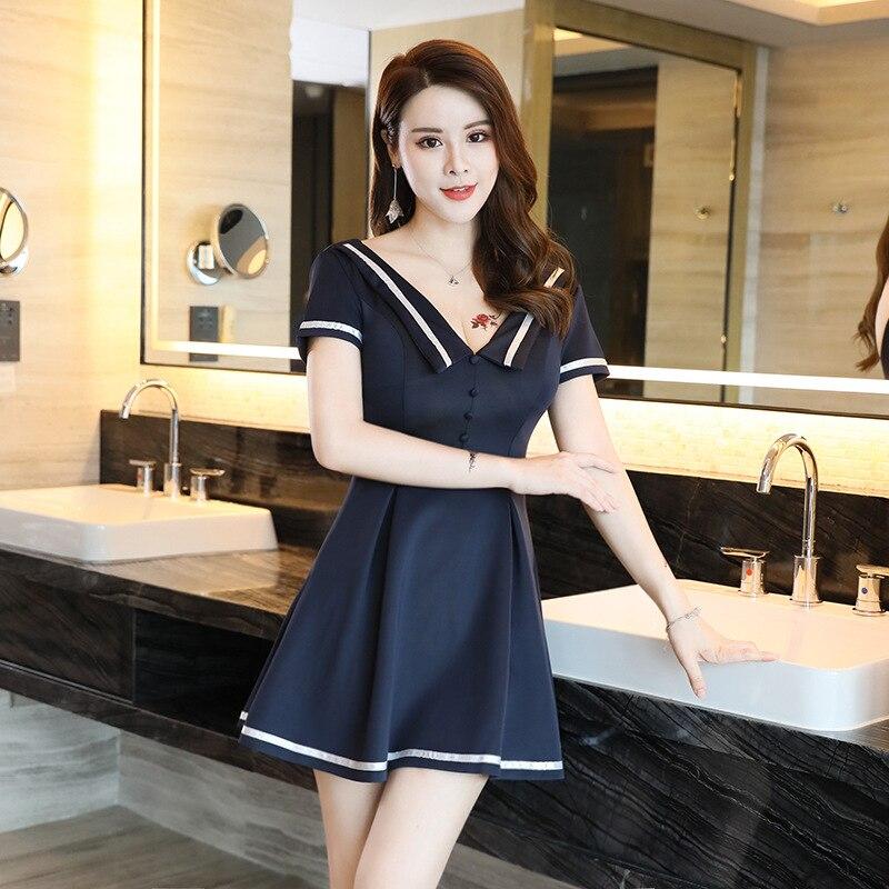 -Manga corta Deep-V gran vestido con dobladillo maquinado mujeres contraste Color club nocturno traje uniforme 2019 nuevo estilo