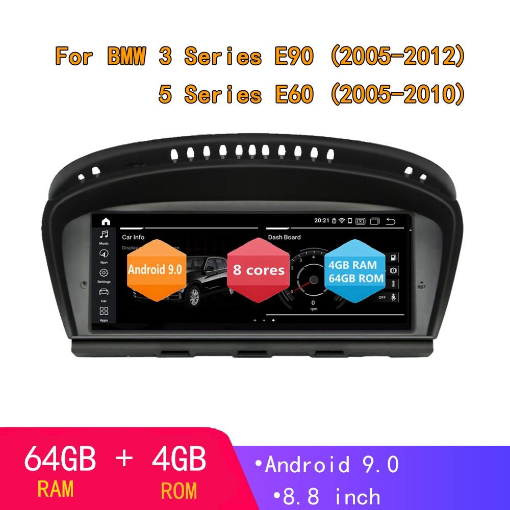 Reproductor de DVD y Radio Estéreo Android 9,0, 8 núcleos, 4 + 64G, navegación por GPS para coche, Eonon para BMW 3/5 Series E60/E90 2005-2012