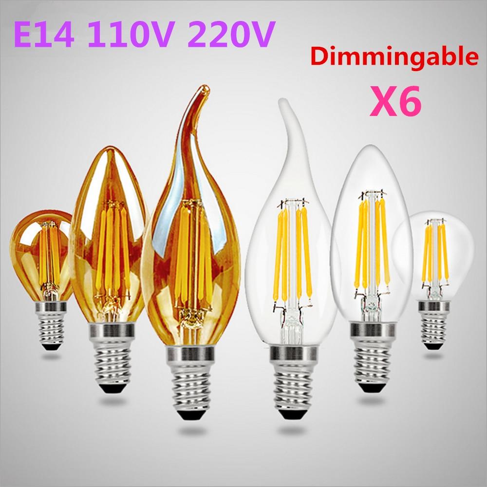 E14 Dimmingable лампа накаливания Эдисона светодиодный лампа 110V 220V лампы в форме свечи светильник 2/4/6W Стекло лампы Винтаж светодиодный светильник...