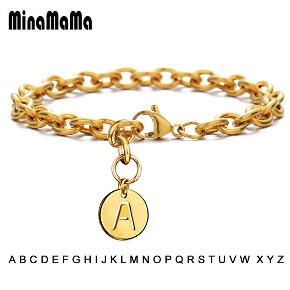 Bransoletki z alfabetu stal nierdzewna 316L list Charm bransoletka okrągła etykieta 26 liter początkowe bransoletki dla kobiet biżuteria dziewczęca