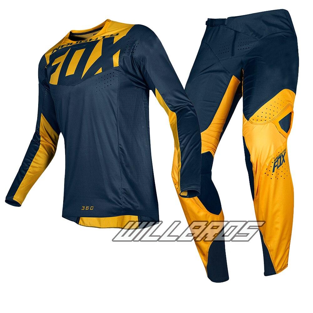 2019 Naughty Fox MX 180/360 Prizm Navy Yellow Jersey Pants Motocross Racing Dirt bike Off Road Gear Set