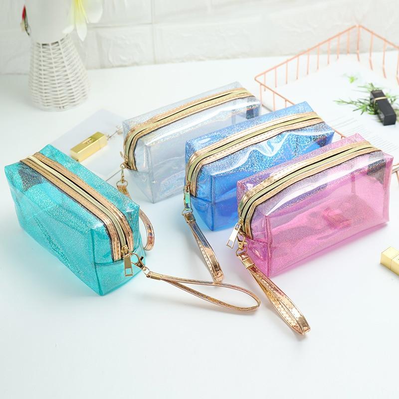 Transparent Flash Cosmetic Bags Flap Women Men Zipper Travel Wash Storage Bags Organizer Makeup Case