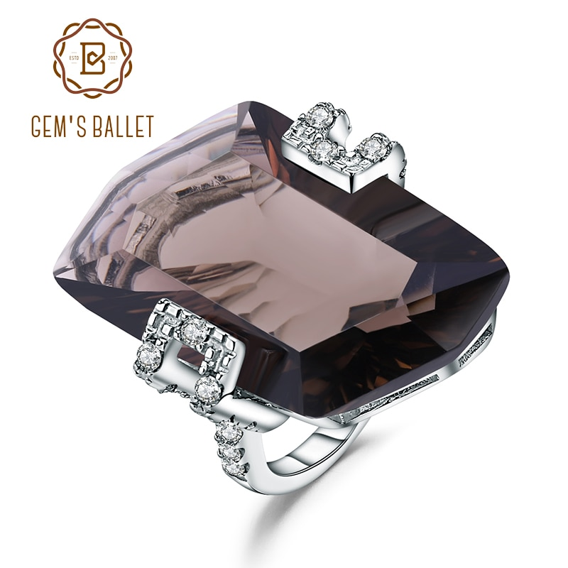 GEMS BALLET, anillo de cóctel clásico de Plata de Ley 925 de lujo, anillos de GEMA de cuarzo ahumado Natural para mujeres, joyería fina