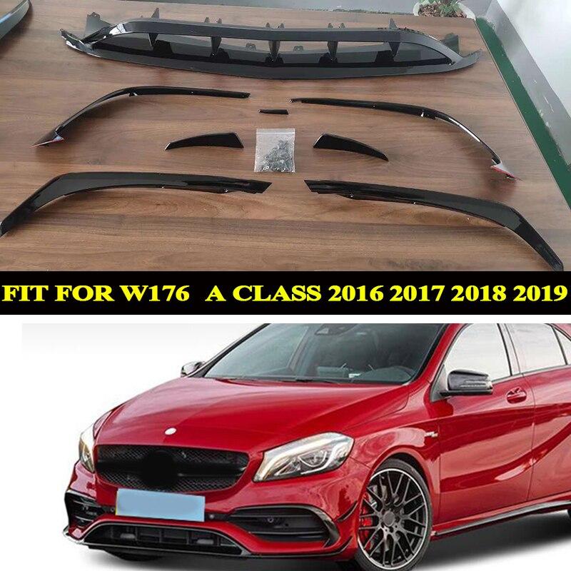 Divisores labiales frontales para Benz A Class W176, A200, A250, A45, parachoques lateral embellecedor 2016, 2017, 2018, 2019, abs negro, 8 Uds.