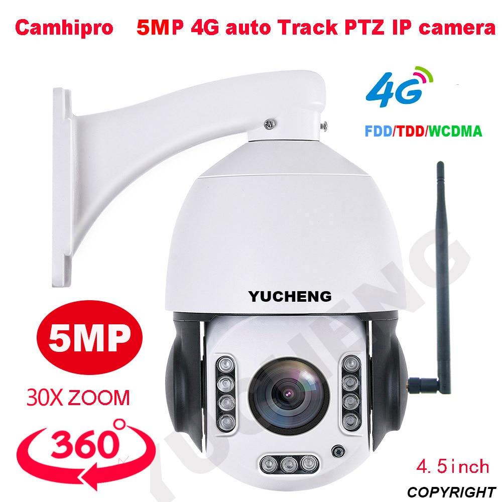 CamHipro 4G Wireless 5mp 30X zoom 2MP humanoid Auto Track SONY335 PTZ Speed dome  IP Camera build MIC  speaker 32 64 128gb SD