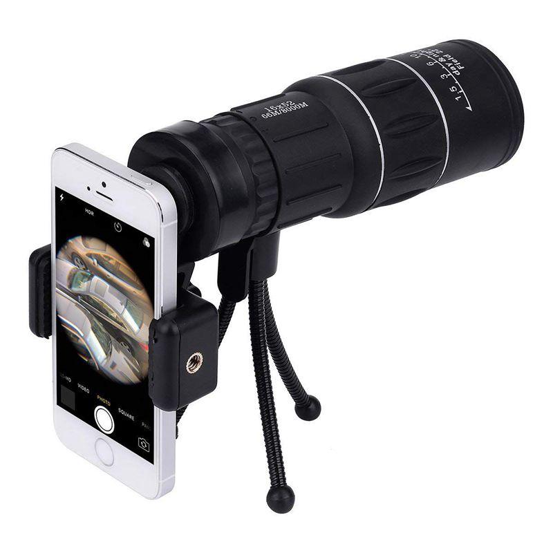 Telescopio Monocular de doble enfoque 16x52, miras de proyección impermeables, vista panorámica HD, con adaptadores de trípode/teléfono móvil Universal para wifi