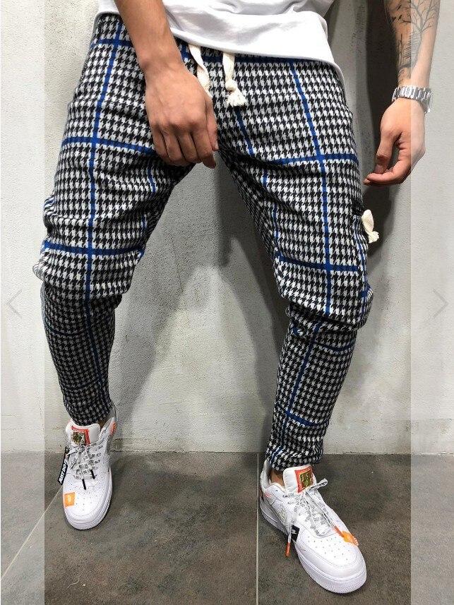 Новые мужские шаровары облегающие крутые клетчатые повседневные спортивные полосатые брюки в стиле хип-хоп уличные спортивные брюки для б...