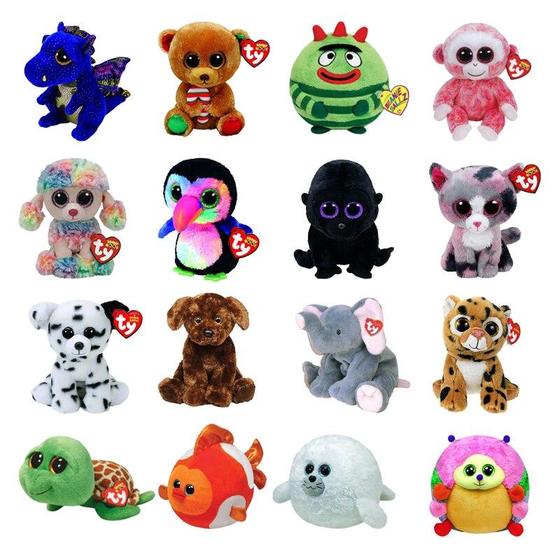 """New 9""""25CM Ty Beanie Big Eyes Unicorn Dragon Dog Cat Elephant Goldfish Hedgehog Penguin Plushie Cute Doll Toys Decor Child Gift"""