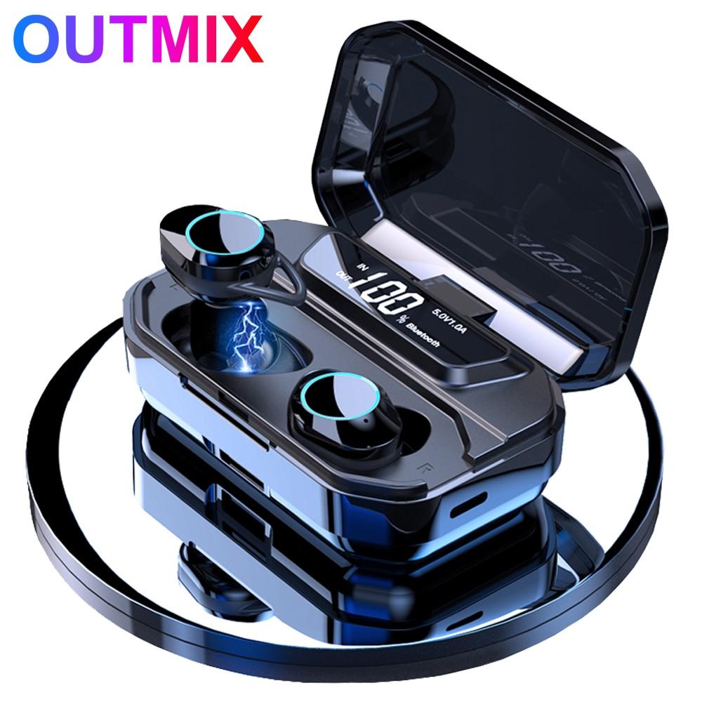 G02-auricular, inalámbrico por Bluetooth V5.0, auriculares estéreo IPX6 impermeables Táctiles con gran capacidad de batería y caja de carga tipo c de 3300mAh